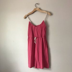 H&M mini striped dress pink and red waist tie